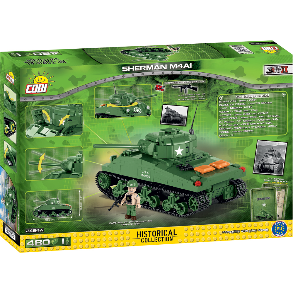 Historical Collection WWII Sherman M4A1 U S  Tank Building Set