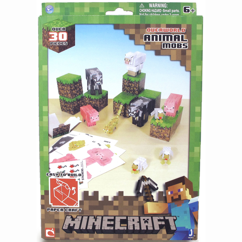 Image of: Cow Animal Mobs World Wide Shopping Mall Paper Craft 30 Piece Set From Minecraft Wwsm