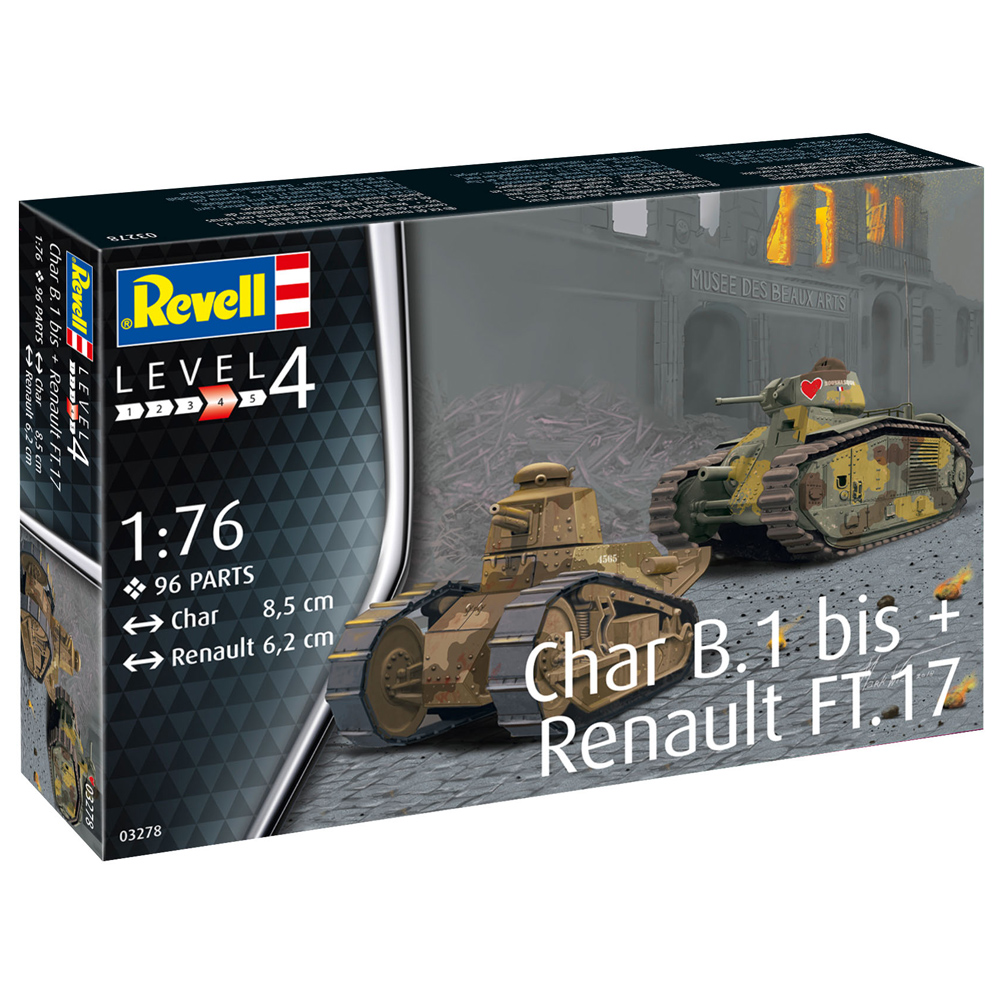 Details about Revell Char B 1 bis & Renault FT 17 Tank Model Kit + Diorama  Base (Scale 1:76)
